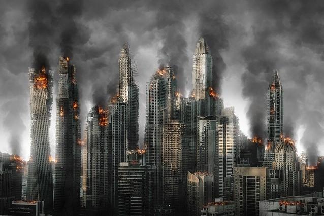 City on fire.